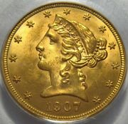 = 1907-d Ms63 Pcgs 5 Liberty Gold Piece Pq For The Grade Free Shipping