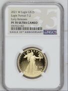 2021 W 21ecn 25 1/2 Oz Gold American Eagle Pf70 T2 Uc Early Releases Coa And Box
