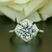 2.7 Ct Round Diamond Floral Engagement And Wedding Modernist Ring 14k White Gold
