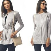 H By Halston Faux Suede Leather Belted Zip Jacket 2 Gray