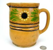 Antique French Country Yellow Ware Floral Slip Pottery Pitcher Jug Alsace Jaspe