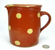 Vintage French Country Yellow Ware Polka Dot Slip Pottery Pitcher Alsace Jaspe
