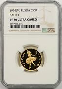 1994m Russia Ballet G50r Ngc Pf 70 Ultra Cameo Gold 50 Roubles Pop= 1/0