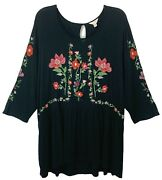 Adiva Blouse Floral Embroidered Black 3/4 Sleeve Stretch Button Women's Plus 2x