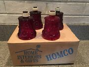 4 Vintage Homco Home Interior Ornate Red Daisy Glass Pegged Candle Votive Cup