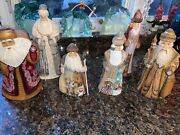 Hand Carved And Painted Russian Santas- Lot Of 6, Most Signed