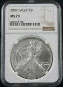 2007 American Silver Eagle Ngc Ms 70