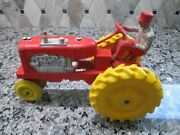 Vintage Auburn Rubber 572 Tractor Farmer Man Red With Yellow Wheels