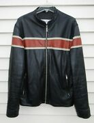 Wilsons Leather Julian Zip-cuffs Cafe Racer Racing Motorcycle Jacket Mens Large