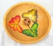 Vintage Wooden Hand Painted Oak Leaves 3 Footed Nut Bowl With 2 Nutcrackers