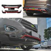 Black+red Front Rear Skid Plate Bumper Board Guard 1pcs For Ford Edge 2015-2018