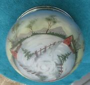 Antique Large Painted Country Barn Winter Scene Lamp Light Shade Globex8