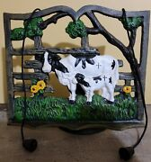 Cast Iron Tilting Cow Cookbook Stand Recipe Book Holder With Weights