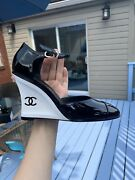 Nib 21a White Wedge Open Shoes Edgy Patent Leather Black Size 38