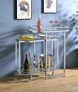 Modern 3 Tiers Home Wheels Tempered Glass Kitchen Bar Serving Cart Wine Trolley
