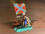 Timpo Confederate Black Braces Mounted - Carrying Rebel Colours - 1970and039s