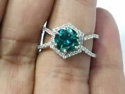 1.70 Ct Green Round Cut Moissanite Halo Wedding Bridle Ring 925 Sterling Silver