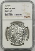 1893 1 Ngc Unc Details Cleaned Morgan Silver Dollar