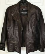 Menandrsquos Vintage Wilson Heavy Duty Thinsulate Brown Leather Motorcycle Jacket Sz M