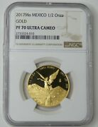 2017 Mo Mexico Gold 1/2 Onza Pf 70 Ultra Cameo Ngc Certified
