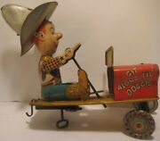 Old Unique Art Tin Wind Up Cowboy Driving Jeep - Rodeo Joe Toy Parts