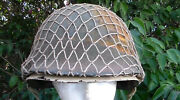 Vintage Old Us Ww2 Era Fixed Bale M-1 Combat Helmet And Rayon Strap Liner Used
