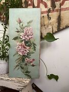 Antique Victorian Pink Roses Oil Painting Gorgeous