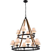 Equestrian With Shades Horseshoe Bronze Rustic Farmhouse Chandelier 12 Light 47