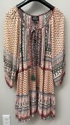 Angie Peasant Tiered Blouse Boho Top Tunic Ruffle Mixed Print Plus Size 1x Nwt
