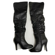 Forever Womenand039s Focus-33 Flip-top Slouch Over Knee High Heel Dress Boots Sz 5.5