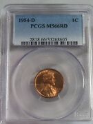 Bu Red Gem 1954-d Lincoln Wheat Penny Pcgs Ms66 Rd. 2