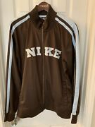 Vintage Nike Menand039s L Brown Light Blue Stripe Track Suit Jacket 90and039s Mint Cond