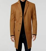 450 Kenneth Cole Menand039s Brown Slim-fit Wool-blend Overcoat Jacket Size 38s