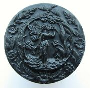 Antique Vintage Picture Button Large Black Glass Fairy Smelling Flower Dragonfly