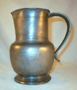 Antique 18th Century French Pewter Water Jug Or Pitcher Spout And Applied Handle