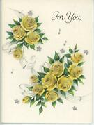 Vintage Yellow Roses Musical Notes Silver Flowers Miniature Greeting Card Print