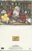 Vintage Santa Claus Toy Wood Shop Crafting Bird Houses Owl Candles Greeting Card
