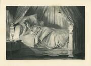 Antique Victorian Pretty Woman Reading Canopy Bed Lamp Light Louis Morin Print