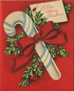 Vintage Christmas Red Bow Blue White Peppermint Candy Cane Greeting Mcm Art Card