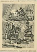 Antique Art Print Of Russian Bronzes And Silverware Of Horse Soldier Amour Stein
