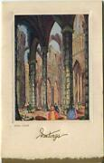 Vintage Christmas Abbey London Church In Victorian Days Flawed Greeting Card