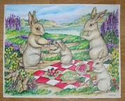 Bunny Rabbits Family Nature Garden Vegetables Picnic Lunch Fairies W/c Painting