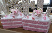 2 Shabby Chic Cake Slice Christmas Ornaments Pink Roses Bows Glitter