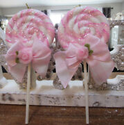 2 Shabby Chic Lollipop Christmas Ornaments Pink Roses Bows Glitter
