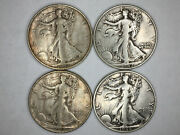 Liberty Walking Half Dollars 1937-s 1942-d 1944-s And 1946-s. F Or Better.