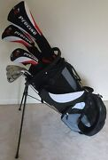 New Mens Complete Golf Club Set Driver Wood Hybrid Irons Putter Bag Right Handed