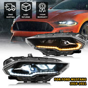 For Ford Mustang 2018-2021 Projector Headlights Replacement Clear Style Pair