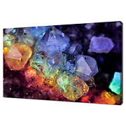 Colourful Glossy Magical Geometric Quartz Crystals Canvas Print Wall Art Picture
