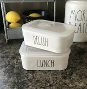 Rae Dunn Ceramic Food Storage Containers W/lids Lunch And Delish Medium Set Of 2