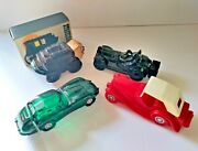 4 - Vintage Avon Collectible Glass Bottles Collection Used Cars And Stage Coach